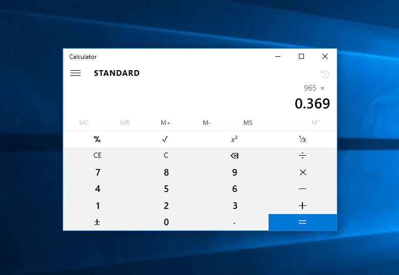 Calculator in Windows 10
